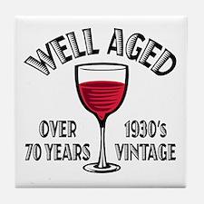 Over 70th Birthday Tile Coaster