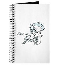 Due In July Blue Flower Teddy Journal
