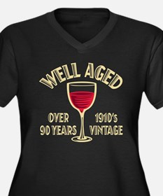 Over 90th Birthday Women's Plus Size V-Neck Dark T