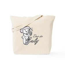 Due In July Purple Flower Teddy Tote Bag