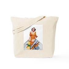 Romantic Boat Girl Tote Bag