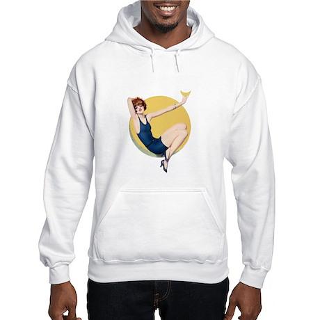 Redhead in Blue Hooded Sweatshirt