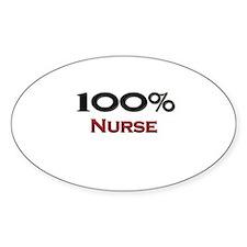100 Percent Nurse Oval Decal