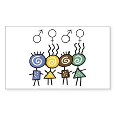 Colorful Foursome Rectangle Decal