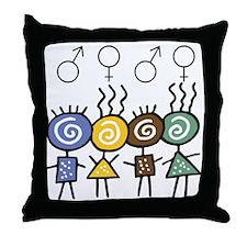 Colorful Foursome Throw Pillow
