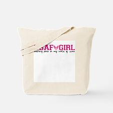 Wearing pink USAF girl Tote Bag