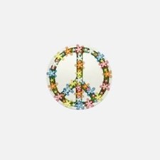 Peace Flowers Mini Button
