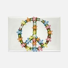 Peace Flowers Rectangle Magnet