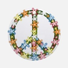 Peace Flowers Ornament (Round)