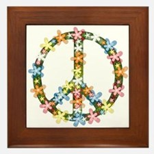 Peace Flowers Framed Tile