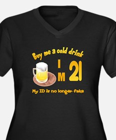 Buy me a cold drink I'm 21 Women's Plus Size V-Nec