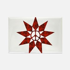 Red Peace Star Rectangle Magnet