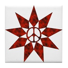 Red Peace Star Tile Coaster