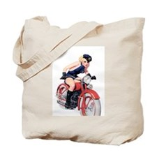 Motorcycle Girl Tote Bag
