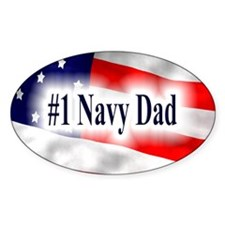 US Flag Motif Oval Sticker - #1 Navy Dad