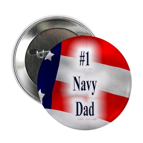 US Flag Motif Button - #1 Navy Dad