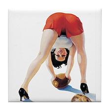 Football Girl Tile Coaster