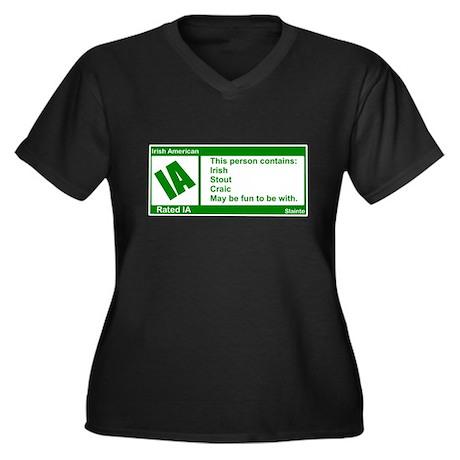 Rated Irish Women's Plus Size V-Neck Dark T-Shirt