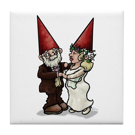 Gnewly-Wed Gnomes Tile Coaster
