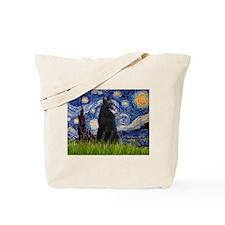 Starry Night & Belgian Shepherd Tote Bag