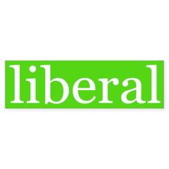 liberal bumper sticker (green/white)