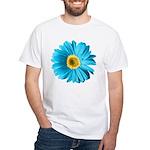 Pop Art Blue Daisy White T-Shirt