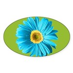 Pop Art Blue Daisy Oval Sticker