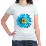 Pop Art Blue Daisy Jr. Ringer T-Shirt