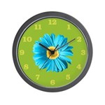 Pop Art Blue Daisy Wall Clock