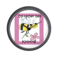 I'd Rather Bee Knitting Wall Clock