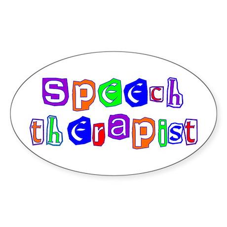 Speech Therapist Colors Oval Sticker