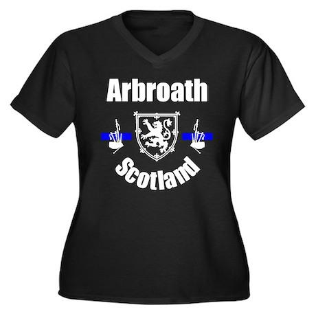 Arbroath Scotland Women's Plus Size V-Neck Dark T-