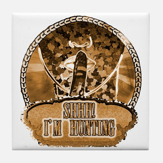shhh i'm hunting t-shirts gifts Tile Coaster