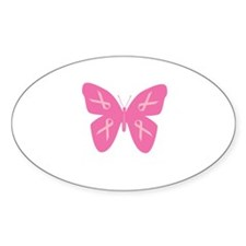 """""""Pink Ribbon""""Butterfly Oval Decal"""