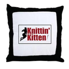 Knittin Kitten - Sexy Knitting Retro Throw Pillow