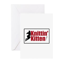 Knittin Kitten - Sexy Knitting Retro Greeting Card