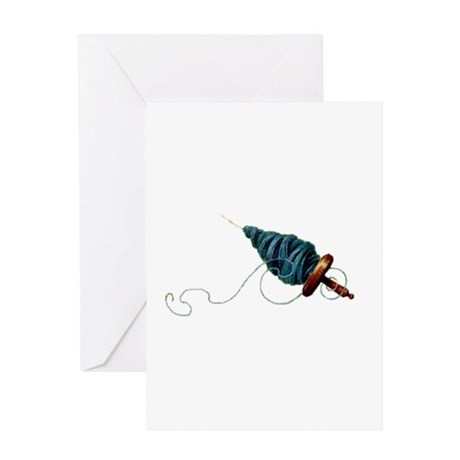 Spinning - Wool Yarn Spindle Greeting Card