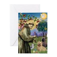 St Francis/Cairn Terrier Greeting Card