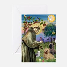 St Francis / Cairn Terrier Greeting Cards (Pk of 2