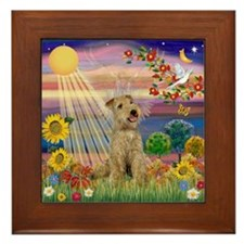 Autumn Angel & Lakeland Terrier Framed Tile