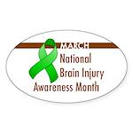 Brain Injury Month Oval Sticker (10 pk)