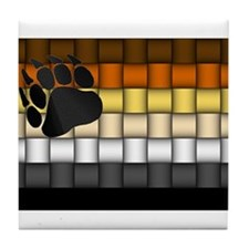 BEAR PRIDE FLAG/BASKETWEAVE Tile Coaster