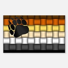 BEAR PRIDE FLAG/BASKETWEAVE Rectangle Decal