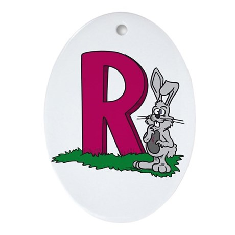 R Is For Rabbits Oval Ornament