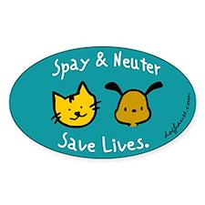 Save Lives Spay & Neuter Oval Sticker (10 pk)