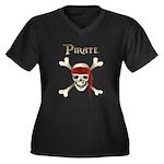 Pirate Women's Plus Size V-Neck Dark T-Shirt