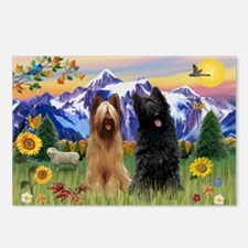 Briard Pair in Mt. Country Postcards (Package of 8