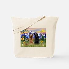 Briard Pair in Mt. Country Tote Bag
