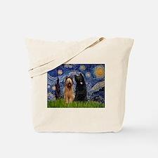 Starry Night & Briard Pair Tote Bag