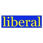 liberal bumper sticker (yellow on blue)